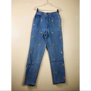 Vintage 80s  High Waisted Star Embroidered Jeans